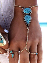 BOHEMIAN  BEACH SIMPLE ETHNIC TURQUOISE CHAIN BRACELET JEWELRY