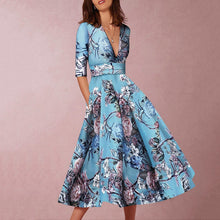 Hand Painted Flower Print Midi Dress