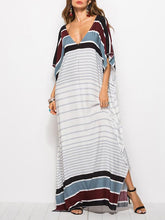 Dovechic Loose V-neck Striped Maxi Dresses