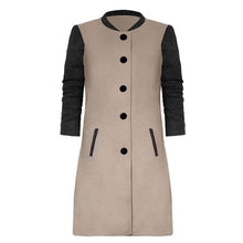Women Fashion Contrast Color Stitching Woolen Overcoat
