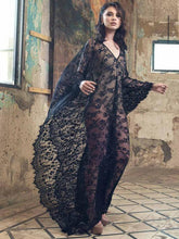 Gown V Neck V Back Flora Lace Black Sexy Maxi Cover Up