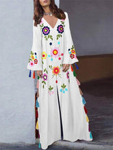 Dovechic Printed Tasseled Split-front Maxi Dress