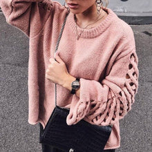Casual Round Neck Hollow Out Pure Colour Sweater