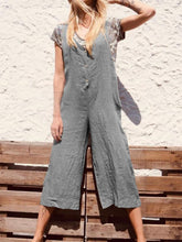 Plus Size Casual Solid V Neck Pockets Jumpsuits
