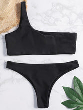 Dovechic Plain Black One Piece Ribbed Swimsuit