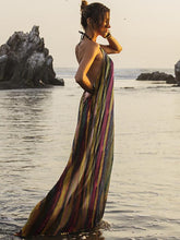 Dovechic Colorful Striped Backless Halter-neck Maxi Dress