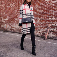 Women's long sleeve plaid coat