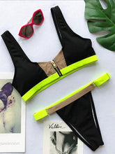 Dovechic Sexy Contrast Color Zipper Bikini Swimsuit