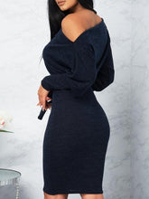 Skew Neck Puffed Sleeve Belted Bodycon Dress