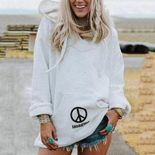 Casual Women Hooded Printed Pocket Sweatshirt