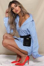 Fashion Blue Striped OL Shirt