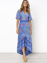 Dovechic Printed Flared Sleeve Bohemian Flowers Maxi Dress