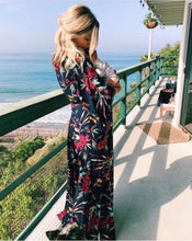 Deep V-neck print dress cross strap slit maxi dress