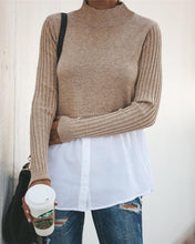 Splicing Long-sleeved Blouse Sweater-2color