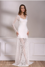 See Through V-Neck Elegant Lace Sexy Maxi Evening Party Dress