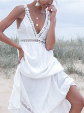 Deep V Neck Backless Boho Maxi Dresses