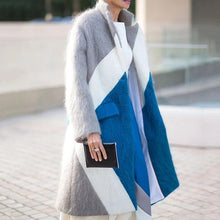 Women's Colorblock Lapel Long Coat