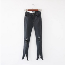 Fashion Knee Broken Hole Slim High Waist Jeans