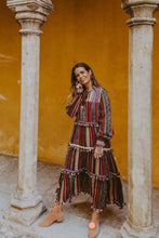 Pom-pom Stitching Striped Bohemian Midi Dress