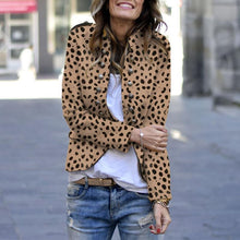 Stylish Button Leopard Print Blazer