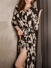 Dovechic Pretty Bohemia Floral Split-side Long Sleeves Maxi Dress