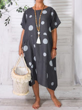 Casual Round Neck Polka Dots Dresses