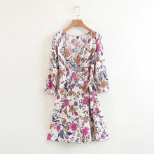 Floral Deep V Collar Shift Dress