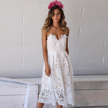 Bohemian Strap Hollow Sleeveless White Dresses