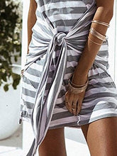 Gray Cotton Casual Striped Sheath Summer Dress