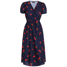 Chic  V-neck Cherry Print Long Dress