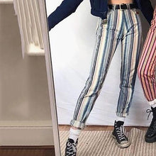 Women's Blue Striped Casual Straight Pants