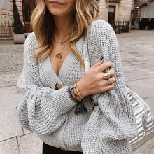 Solid Color Knit Button Sweater
