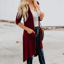 Casual solid color single-breasted cardigan long coat
