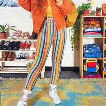Fashion Stitching Striped Slim Pants