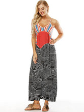Dovechic Printed Slim Fit V-neck Pockets Maxi Dress