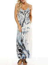 Dovechic Printed Spaghetti-neck Pockets Maxi Dress
