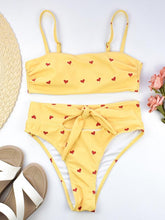 Dovechic High Waisted Tie Bandeau Bikini Swimsuit