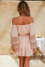 Boho Lace OffShoulder Pink Mini Dresses