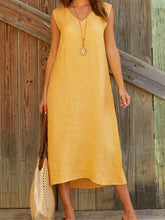 Dovechic Casual Solid V-neck Sleeveless Maxi Dresses
