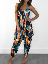 Floral Printed Spaghetti-neck Jumpsuits