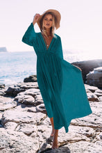 Boho Deep V Neck Hollow Sexy A Line Long Dresses