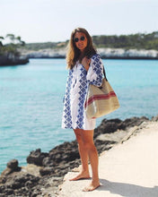 Cotton blue  V-neck long-sleeved beach mini dress