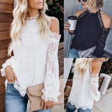 Sexy Halter Lace Leaky Shoulder Top-2color