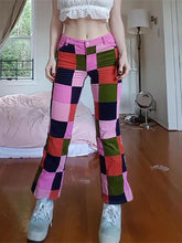 Sweet Color Check Slim Flared Pants