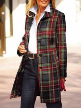 Women's Casual Colorblock Plaid Single-breasted Coat