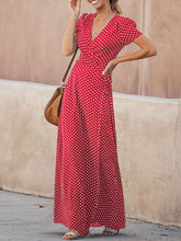 Dovechic Deep V-neck Polka Dot Maxi Dress
