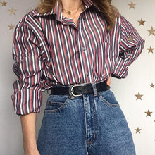 Women's Casual Long Sleeve Striped Single-breasted Blouse