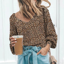 Fashion V Neck Leopard Print Long Sleeve T-Shirt