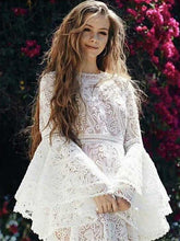 Lace Flared Sleeves Tiered Falbala White Midi Dresses
