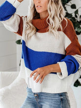 Women's color matching casual turtleneck sweater